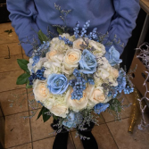 Something blue wedding bouquet