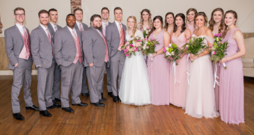 Springtime Bridal Party  Bouquets, Hairpieces, and Tuxedos