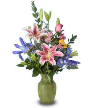SPRING LILIES Vase of Flowers