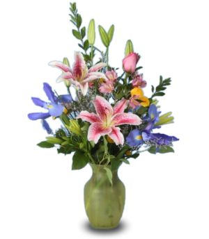 SPRING LILIES Vase of Flowers