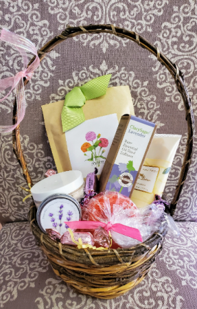 Spa, sweets, and Plant seeds Gift Basket