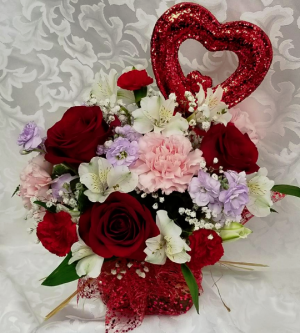Spark of Love Cube Fresh Arrangement with Roses in Fulton, NY | DeVine Designs