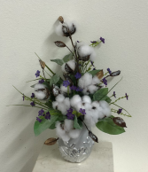 Sparkle silver cotton with silver container Silk Arrangement