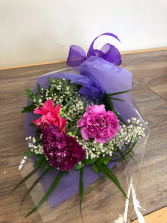 Sparkling carnations Wrapped bouquet