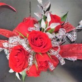 Sparkling Red Wrist Corsage