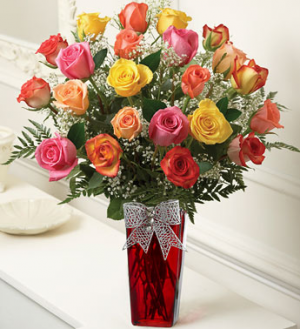 24 Assorted roses in red vase  SALE!!!  in Sunrise, FL | FLORIST24HRS.COM