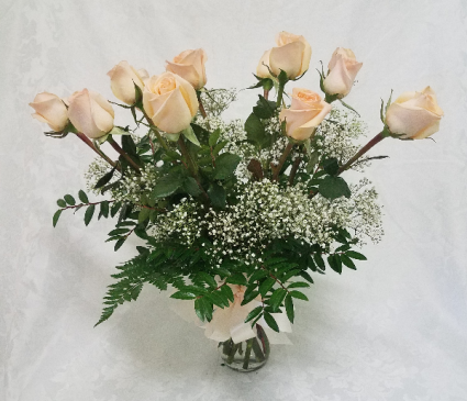 SPECIAL PEACH ROSES ARRANGED $49.99 Roses