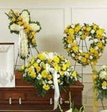 3-PC YELLOW/WHITE CROSS,HEART, CASKET, PACKAGE  SPECIAL!! PAY FOR 2 ITEMS AND GET THE 3RD PC FREE