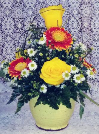 Speckled Yellow Ceramic Crock