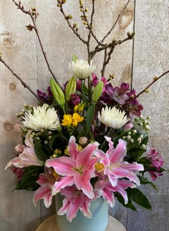 Spectacular Blooming Beauty Floral Arrangement in ceramic pot