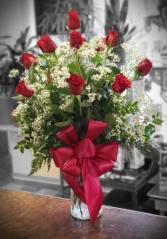 Spectacular Dozen Red Rose Arrangement