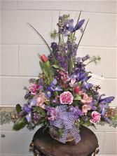 Spectacular iris funeral arrangement