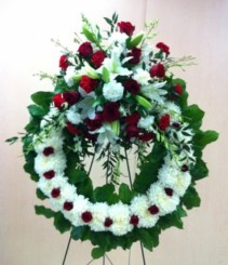 Spectacular Red White Open Wreath Premium Funeral Flowers