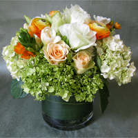 Blossoms at Dailey's Rose and Hydrangea Mix Dense Cylinder