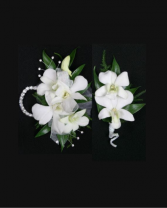 Spiffy White Orchids Prom Package
