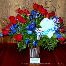 SPIRIT OF AMERICA!  Patriotic Red White Blue Fresh Flower Arrangement