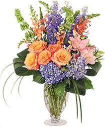 Spirited Delphinium & Hydrangea Flower Arrangement
