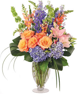 Spirited Delphinium & Hydrangea Flower Arrangement in Sunrise, FL | FLORIST24HRS.COM