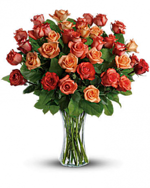 Splendid Sunrise Bouquet of Orange Roses in Southern Pines, NC | Hollyfield Design Inc.