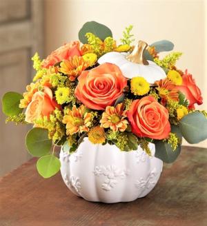 Splendiferous Autumn! Vibrant Blooms in Keepsake Container in Gainesville, FL | PRANGE'S FLORIST