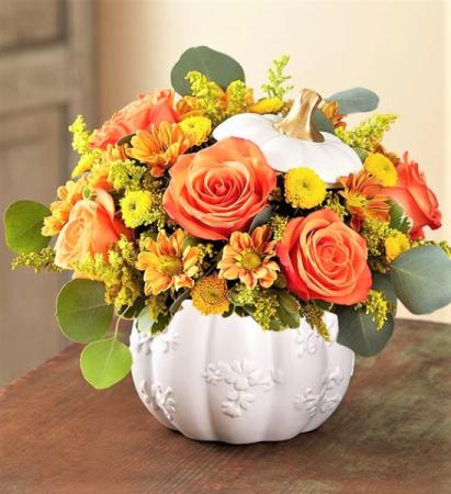 Splendiferous Autumn! Vibrant Blooms in Keepsake Container