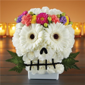 Spooky Skull with Floral Crown Flower Arrangement