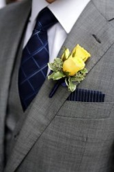 Spray Rose Boutonniere with Ribbon Tie choose your colors
