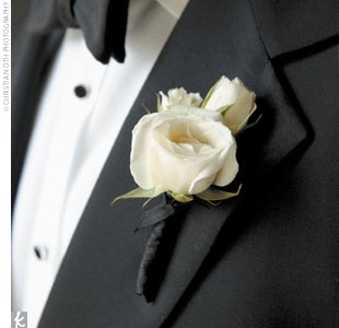 SPRAY ROSE Boutonniere Select Colors