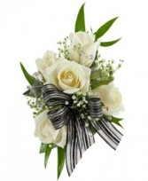5 SPRAY ROSE CORSAGE Select colors of roses & ribbon- pink, red, white, yellow or purple