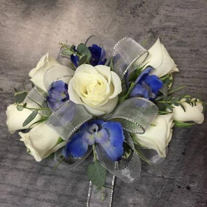 Spray Rose & Delphinium Wristlet