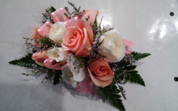 Peach & White Spray Roses, White Freesia Corsage