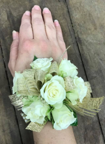 spray roses with ribbon wrist corsage