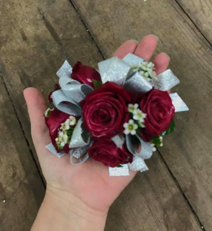 spray roses with wax flower wrist corsage