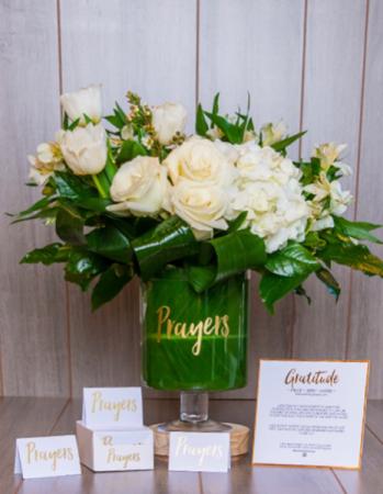 Prayers Glass Jar & Flowers  Gift & Luxurious Fresh Flowers
