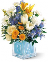 Spring Baby Boy Block  ABC Glass Vase