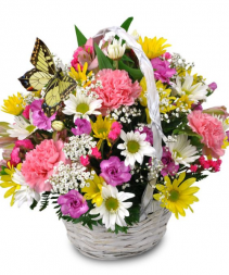 Spring Basket Arrangement Fresh Floral Arrangement