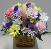 Pastel Spring Basket  Fresh Flower Arrangement