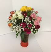 Spring Beauty Mixed spray roses in a vase