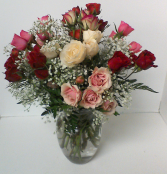 Spring Beauty  Vase of Miniature Roses