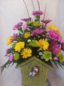 Spring Bird House Arrangement