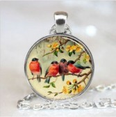 Spring Birds #43 18 inch silver plated necklace