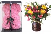 Spring Blooms Valentine  Vase arrangement with keepsake bear
