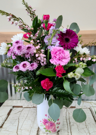 Spring Blossom Vase Florals in a beautiful Ceramic Vase