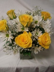"""SUNNY SMILES"" Bright Yellow Roses with  white daisies and baby's breath arranged in a cube vase! Very Popular!!"