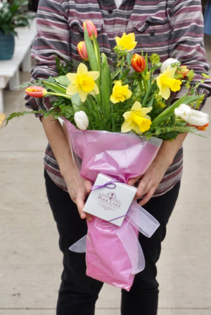 Spring Fling Wrapped Bouquet with Assorted Box of Truffles in Haslett, MI | VAN ATTA'S FLOWER SHOP INC.