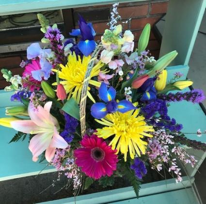 Spring Floral Basket Arrangement