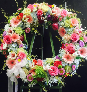 SPRING FLORAL SYMPATHY WREATH Funeral wreath in Fresno, CA | FLOWERS AND MORE