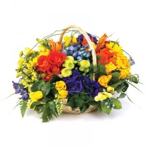 SPRING FLOWER BASKET Basket Mix Flowers