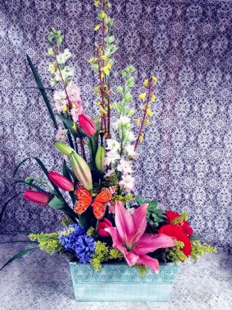 Spring Flower Box w/ Succulent