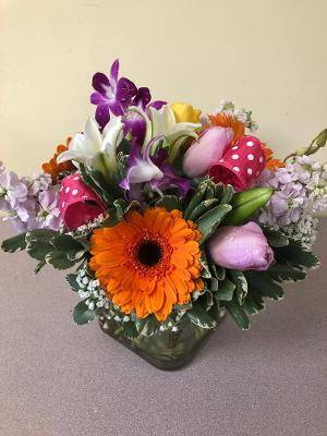 SPRING IN YOUR STEP GLASS CUBE ARRANGEMENT in East Meadow, NY | EAST MEADOW FLORIST